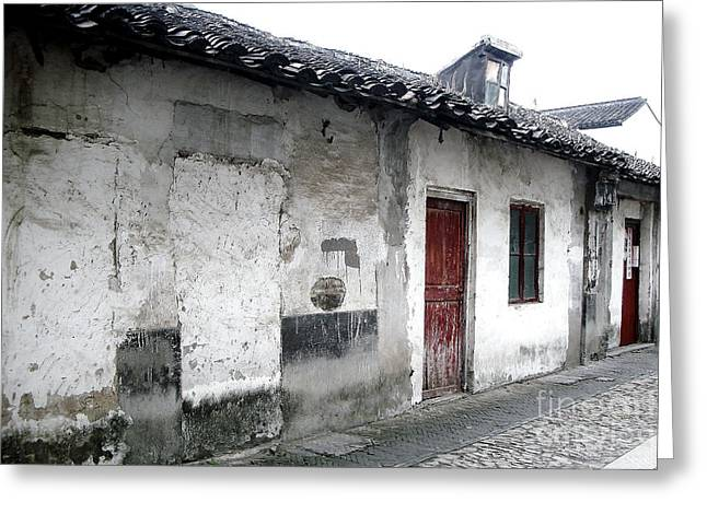Hutong Greeting Cards - White walls Red doors Greeting Card by Ivy Ho