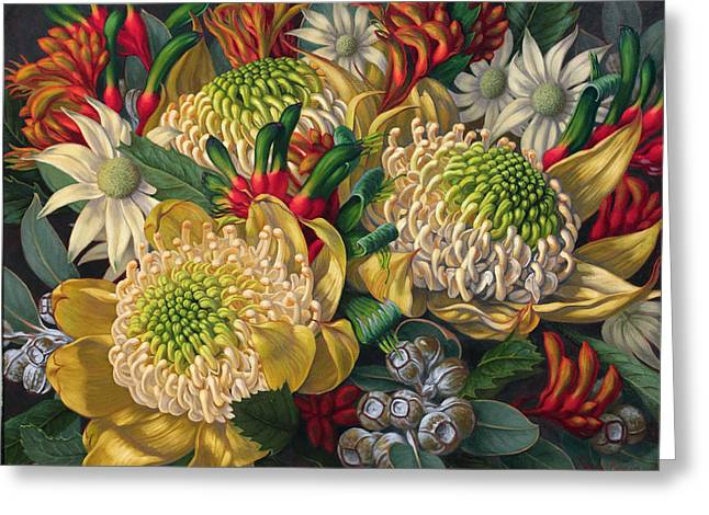 White Flannels Greeting Cards - White Waratahs Flannel Flowers and Kangaroo Paws Greeting Card by Fiona Craig