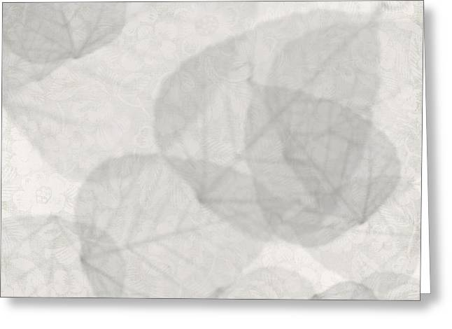 Geometric Artwork Greeting Cards - White Wash Leaves Greeting Card by Kandy Hurley