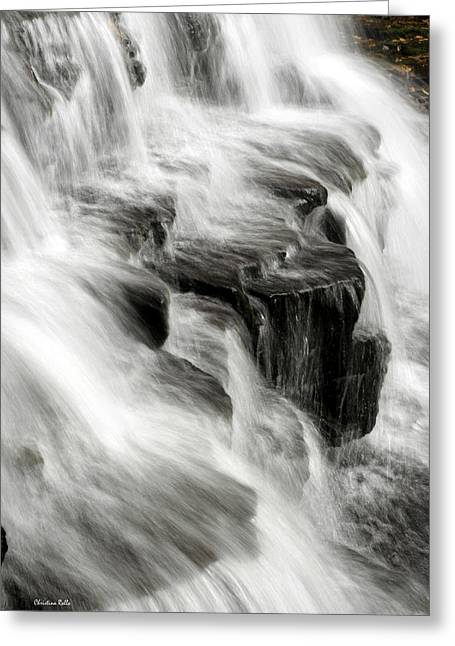 Bw Waterfalls Greeting Cards - White Water Falls Greeting Card by Christina Rollo
