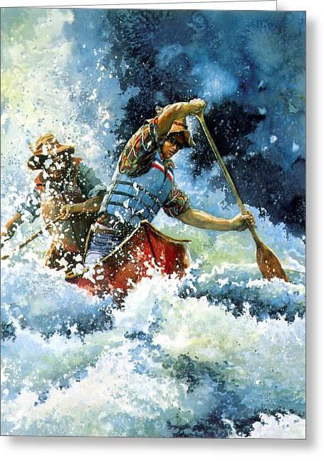 Sports Artist Greeting Cards - White Water Greeting Card by Hanne Lore Koehler