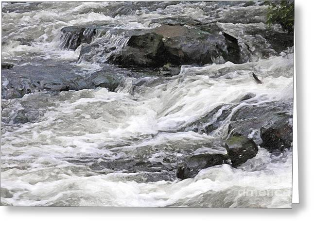 White River Mixed Media Greeting Cards - White Water Greeting Card by Lutz Baar