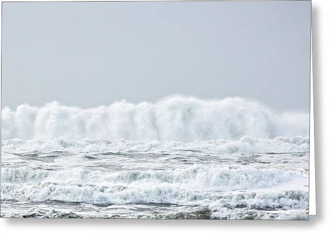 Beach Landscape Tapestries - Textiles Greeting Cards - White Water Surge Greeting Card by Dennis Bucklin