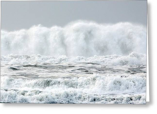 White Tapestries - Textiles Greeting Cards - White Water Wave Greeting Card by Dennis Bucklin