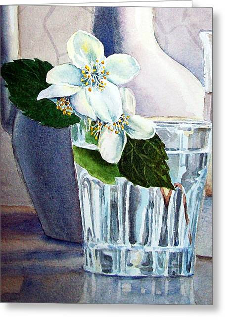 """flower Still Life Prints"" Greeting Cards - White White Jasmine  Greeting Card by Irina Sztukowski"
