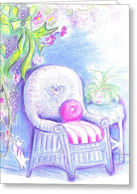 Table And Chairs Mixed Media Greeting Cards - White wicker Greeting Card by Barbara LeMaster