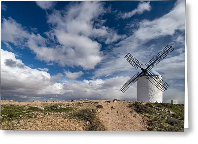 Castile La Mancha Greeting Cards - White windmill in Spain Greeting Card by Stefano Politi Markovina