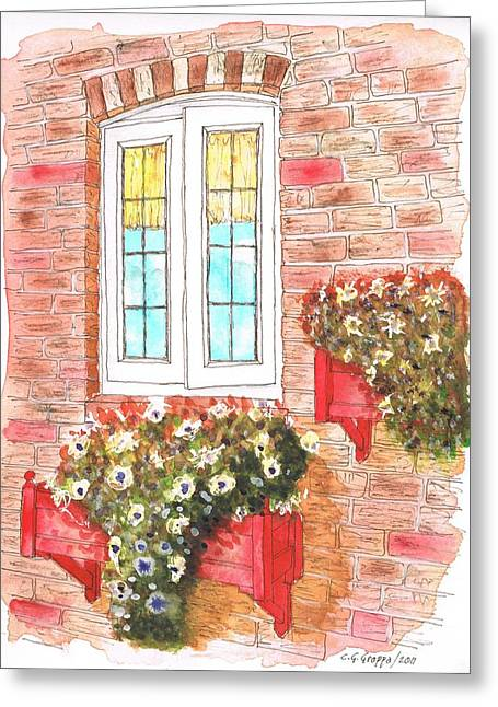 Scenic Buildings Drawings Greeting Cards - White window Greeting Card by Carlos G Groppa