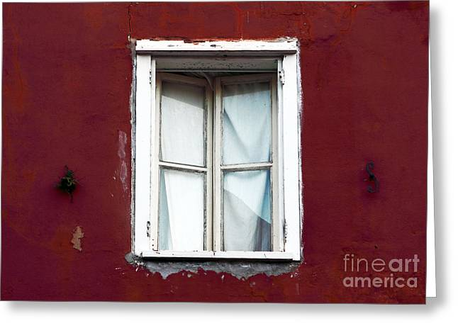 Red Buildings Greeting Cards - White Window Greeting Card by John Rizzuto
