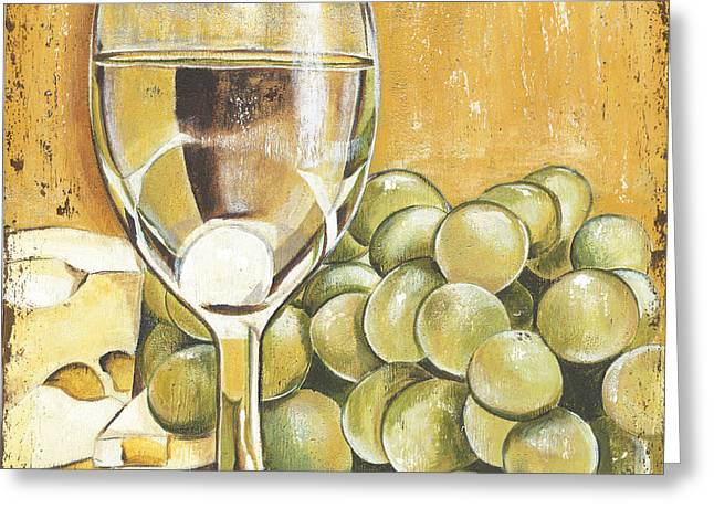Swiss Cheese Greeting Cards - White Wine And Cheese Greeting Card by Debbie DeWitt