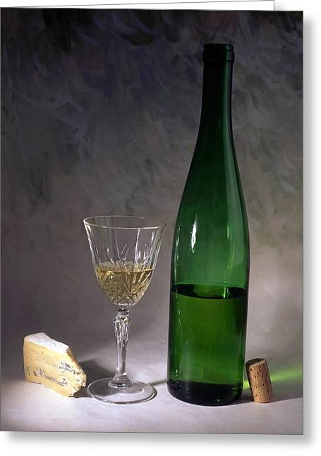 Degustation Greeting Cards - White wine and cheese Greeting Card by IB Photo