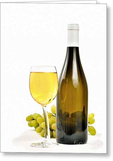 Bunch Of Grapes Greeting Cards - White wine and grapes on white Greeting Card by Skyfish Images