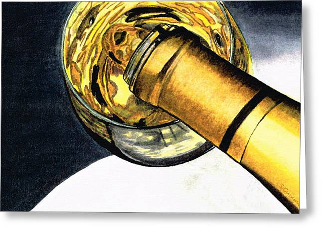 Pinot Paintings Greeting Cards - White Wine Art - Lap Of Luxury - By Sharon Cummings Greeting Card by Sharon Cummings
