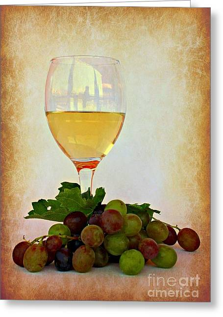 Pinot Digital Art Greeting Cards - White Wine Greeting Card by Clare Bevan