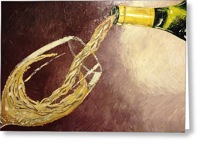 Wine Pour Paintings Greeting Cards - White Wine Greeting Card by Eryn Tehan