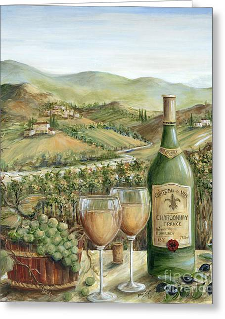 Villa Paintings Greeting Cards - White Wine Lovers Greeting Card by Marilyn Dunlap