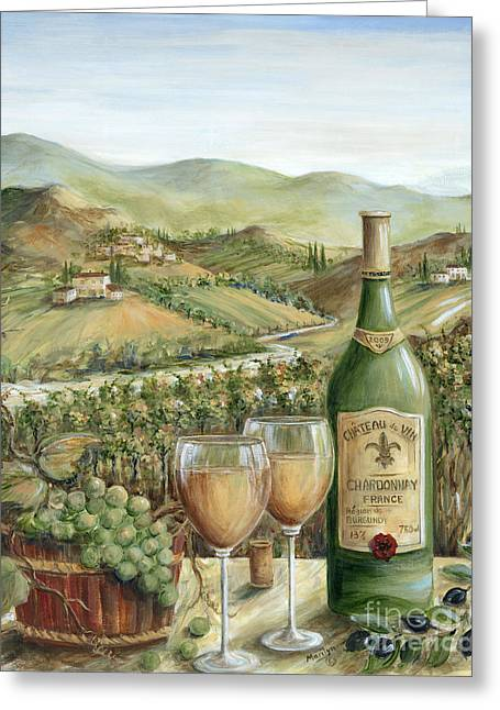 Glass Of Wine Greeting Cards - White Wine Lovers Greeting Card by Marilyn Dunlap