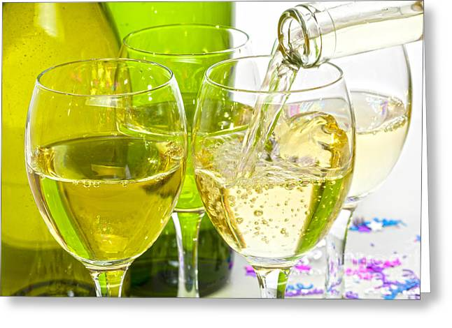 Pouring Wine Greeting Cards - White Wine Pouring into Glasses Greeting Card by Colin and Linda McKie
