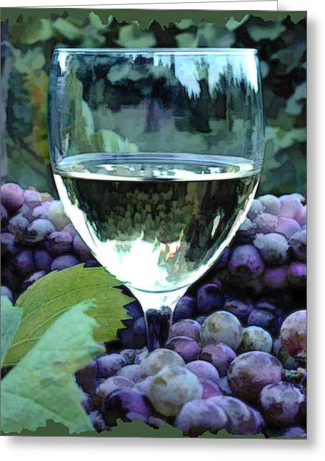 Sparkling Wines Digital Greeting Cards - White Wine Reflections Greeting Card by Elaine Plesser