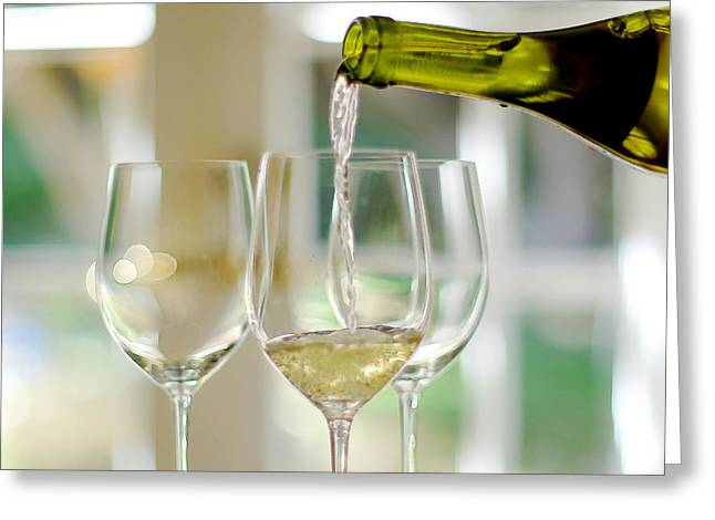 Pouring Wine Greeting Cards - White Wine Greeting Card by Rene Sheret