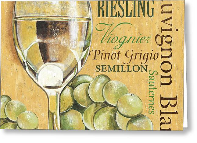 Blue Grapes Greeting Cards - White Wine Text Greeting Card by Debbie DeWitt
