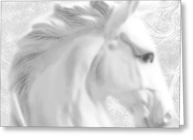 Print On Acrylic Greeting Cards - White Winter Horse 1 Greeting Card by Tony Rubino