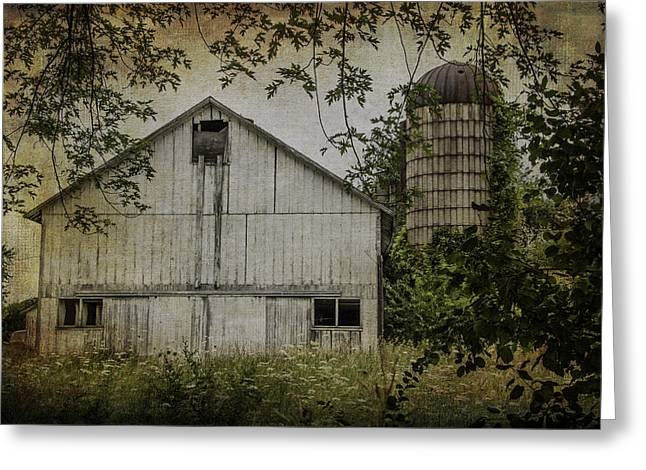 Outbuildings Greeting Cards - White Wisconsin Barn Greeting Card by Kathleen Scanlan