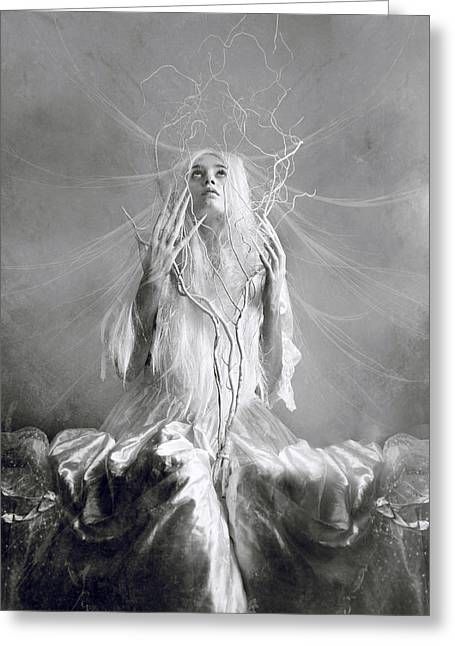 Female Mixed Media Greeting Cards - White Witch Greeting Card by Wojciech Zwolinski