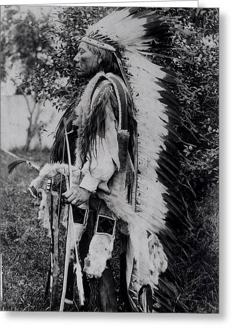 Ethnic Minority Greeting Cards - White Wolf, A Comanche Chief, C.1891-98 Bw Photo Greeting Card by American School