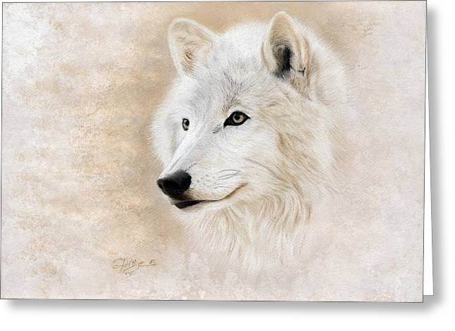 Wild Life Pastels Greeting Cards - White Wolf Greeting Card by Jeanne Delage