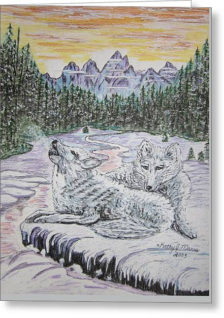 White Wolves Greeting Card by Kathy Marrs Chandler