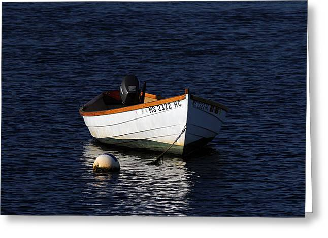 Harwich Greeting Cards - White Wooden Dinghy at Pamet Harbor on Cape Cod Greeting Card by Juergen Roth