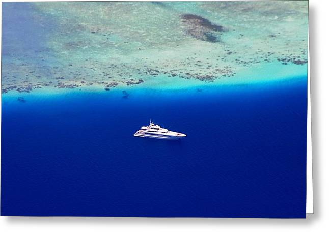 Unique View Greeting Cards - White Yacht in the Blue Ocean Greeting Card by Jenny Rainbow