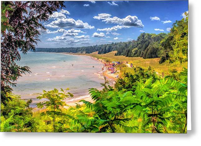 Sand Dunes Paintings Greeting Cards - Whitefish Dunes State Park Beach in Door County Greeting Card by Christopher Arndt