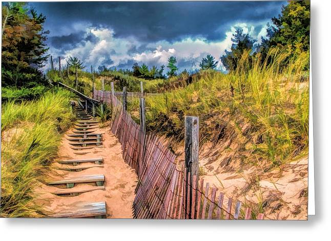 Sand Dunes Paintings Greeting Cards - Whitefish Dunes State Park Stairs Greeting Card by Christopher Arndt