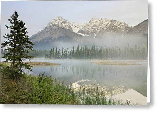 Descriptors Greeting Cards - Whitegoat Lake And Mount Elliot Greeting Card by Darwin Wiggett