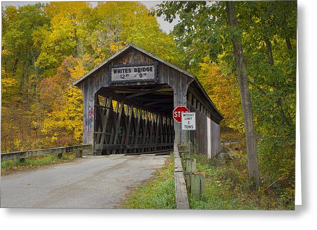 Randy Greeting Cards - Whites Covered Bridge in Fall Greeting Card by Randall Nyhof