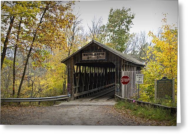 Old Roadway Greeting Cards - Whites Covered Bridge on the Flat River near Lowell Michigan No. 0338 Greeting Card by Randall Nyhof