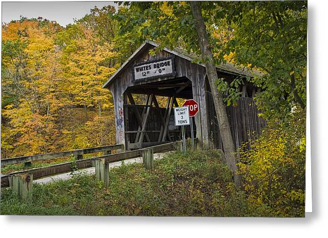 Whites Covered Bridge On The Flat River No.0333 Greeting Card by Randall Nyhof