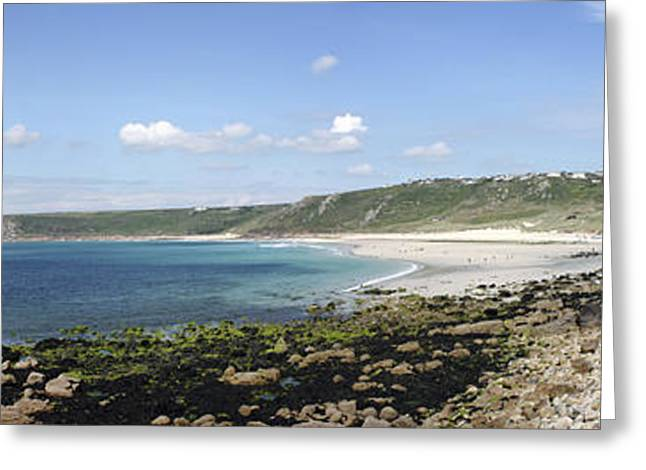 Sennen Greeting Cards - Whitesands Bay Panorama Greeting Card by Terri  Waters