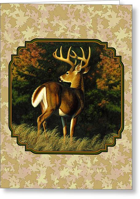 White-tail Deer Greeting Cards - Whitetail Buck Autumn Leaves Pillow Greeting Card by Crista Forest
