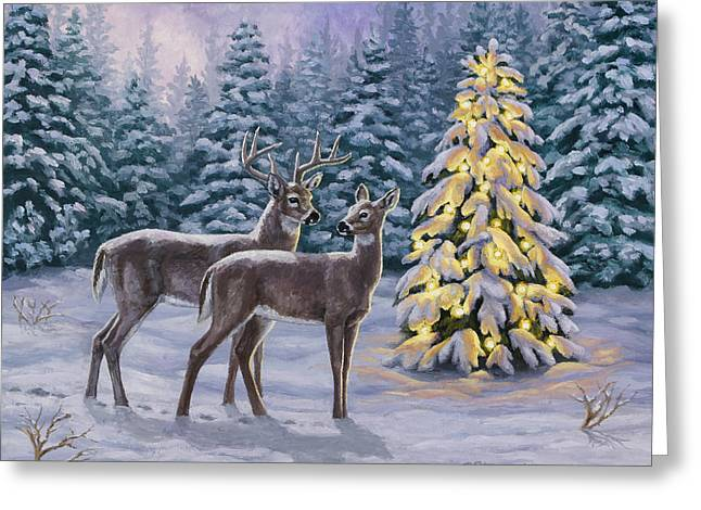 Snowy Night Night Greeting Cards - Whitetail Christmas Greeting Card by Crista Forest