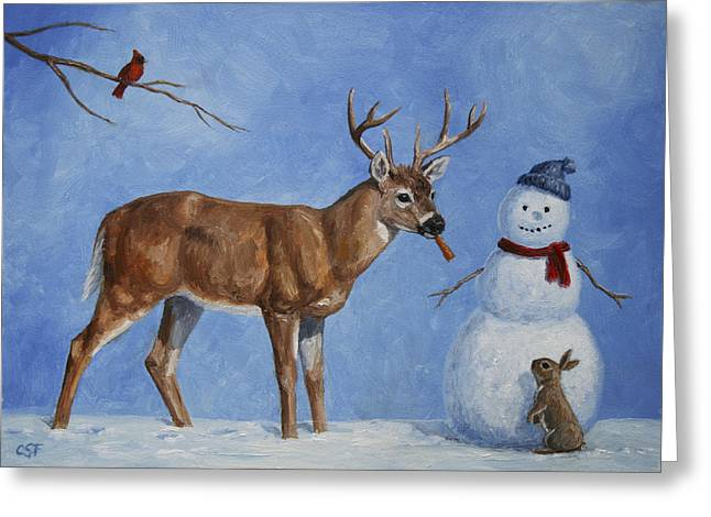 Christmas Greeting Greeting Cards - Whitetail Deer and Snowman - Whose Carrot? Greeting Card by Crista Forest