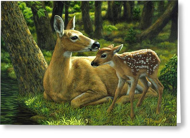 Golds Greeting Cards - Whitetail Deer - First Spring Greeting Card by Crista Forest