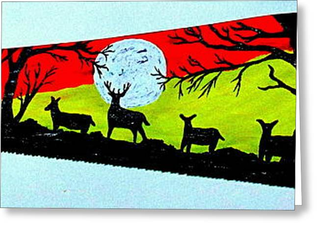 Saw Greeting Cards - Whitetail Silhouette Greeting Card by Jeffrey Koss