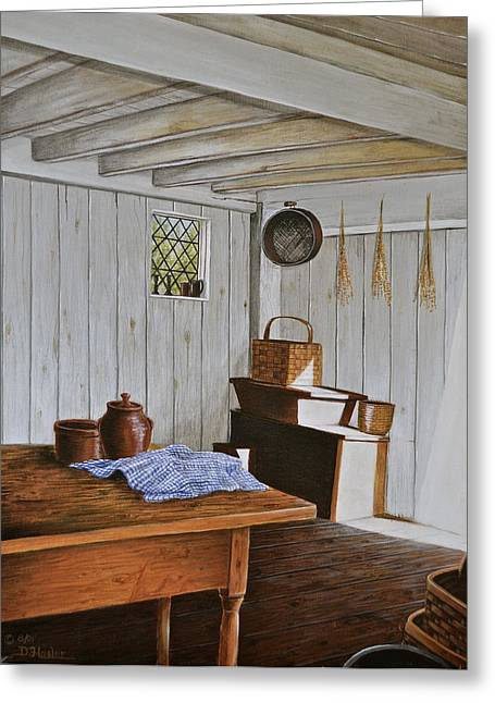 Stoneware Paintings Greeting Cards - Whitewashed Kitchen Greeting Card by Dave Hasler