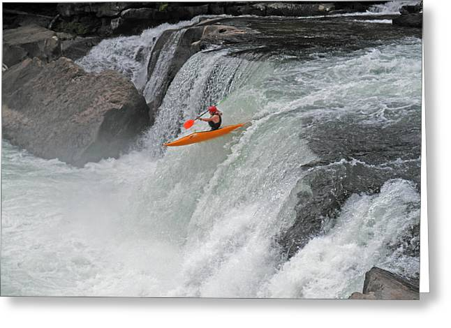 Kayaks Greeting Cards - Whitewater Attack Greeting Card by John Stephens