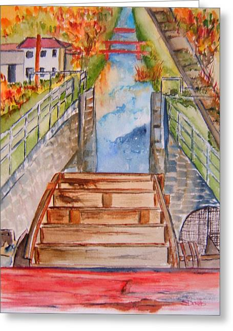 Indiana Autumn Greeting Cards - Whitewater Canal Lock Greeting Card by Elaine Duras