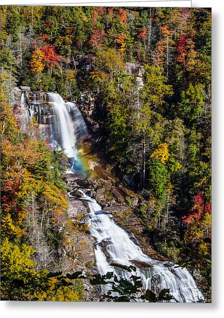Falls Greeting Cards - Whitewater Falls with Rainbow Greeting Card by John Haldane