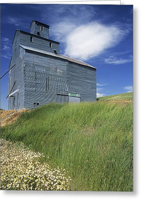 Grey Clouds Greeting Cards - Whitman Co Elevator Greeting Card by Latah Trail Foundation